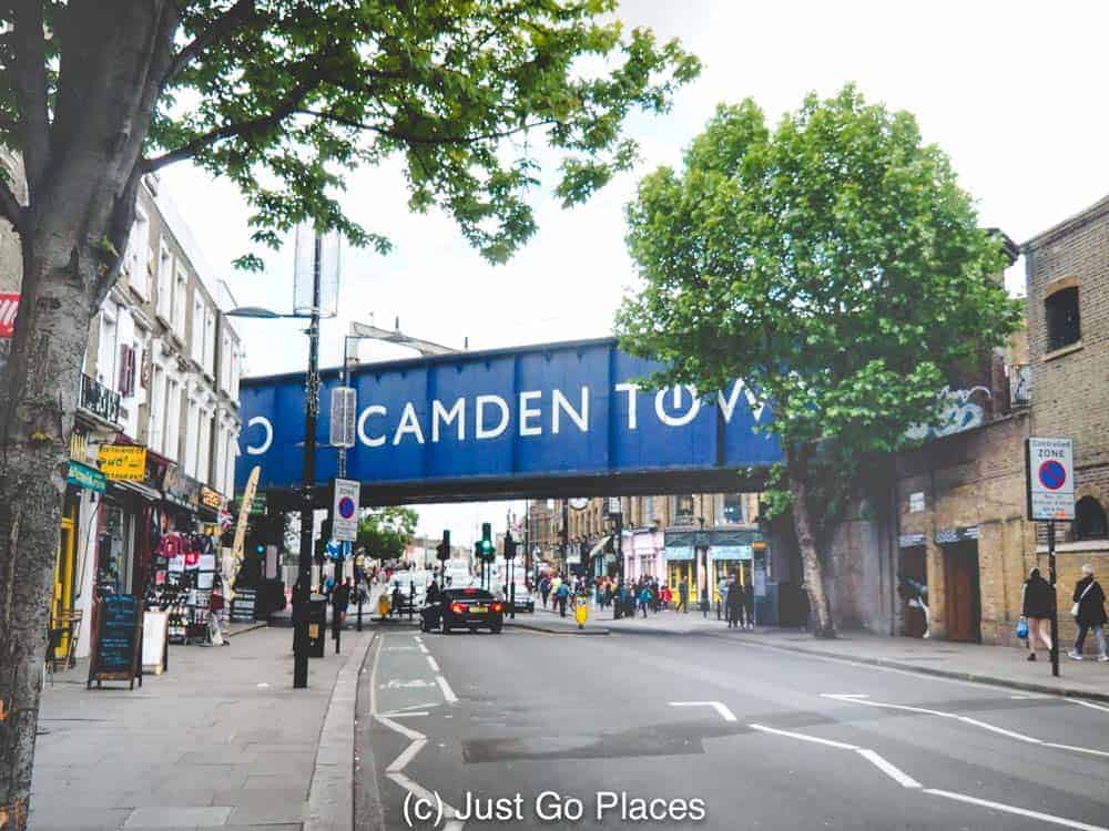 You know you are in Camden Town market thanks to the giant railroad sign.