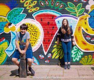 Colorful fruit is one of the many pieces of street art in Camden