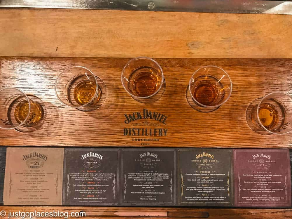 The whiskey options the Flight of Angels Jack Daniels Distillery Tour