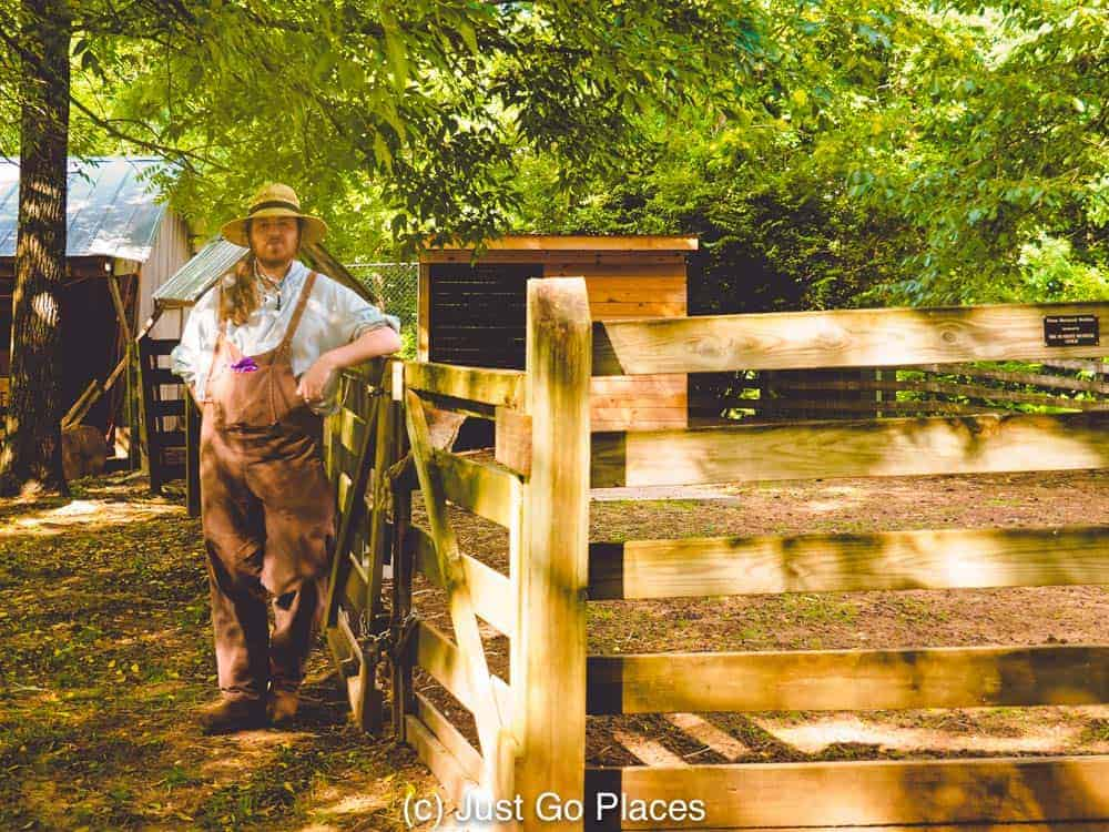 An actor in period costume at Burritt on the Mountain
