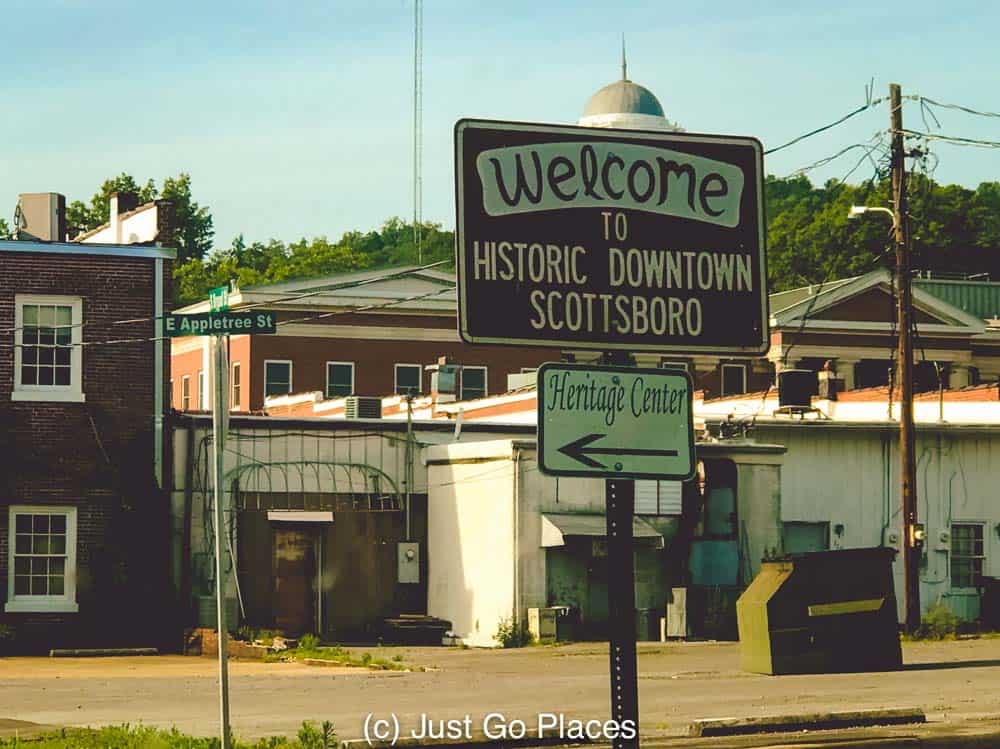 The historic downtown of Scottsboro Alabama is small and walkable.
