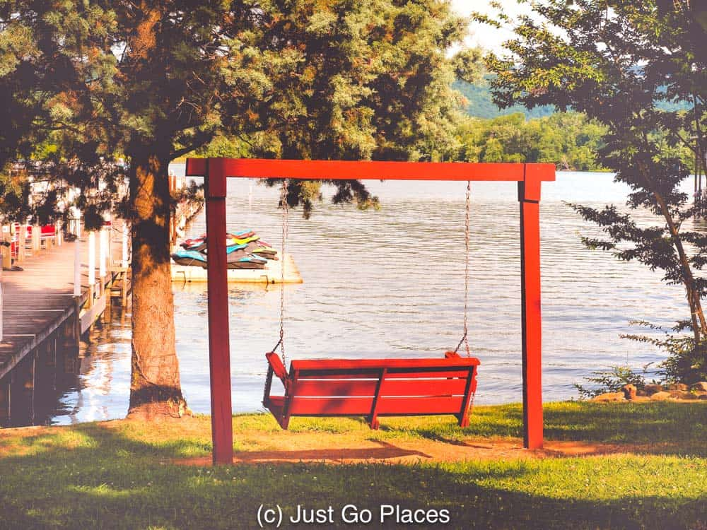 Watch the world go by on a peaceful rocking bench at Jackson County park.