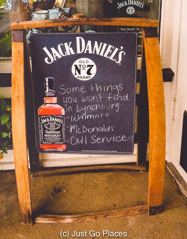 A sign found in downtown Lynchburg Tennessee