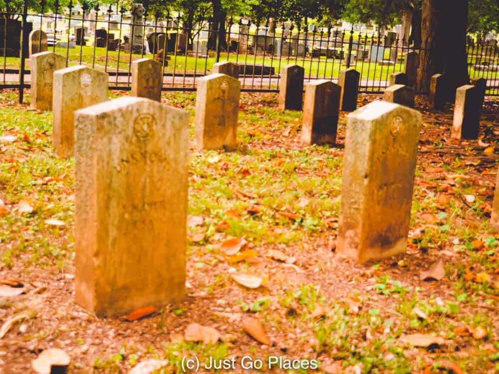Tombstones at the Maple Hill Cemetery Huntsville Alabama marking unknown Confederate soldiers