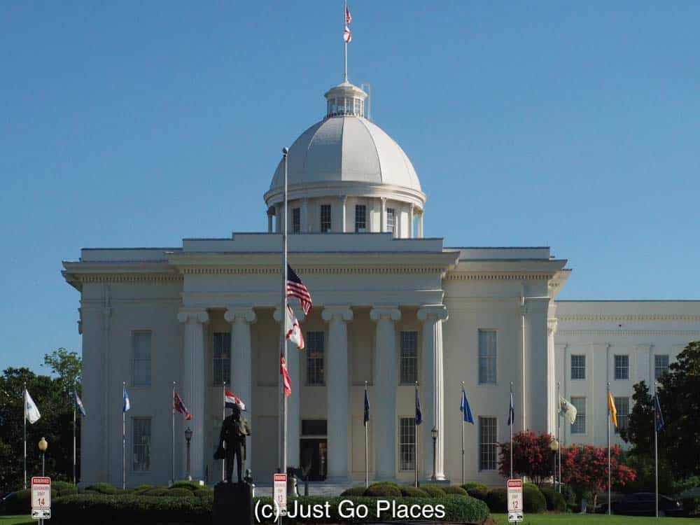 When you visit Montgomery Alabama, the Alabama state house is an imposing structure in downtown.