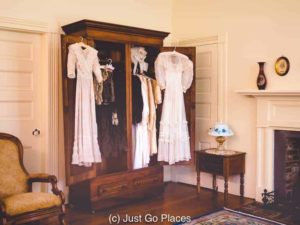 Clothes from Helen Keller and her mother are in the wardrobes just like they had just left the house.
