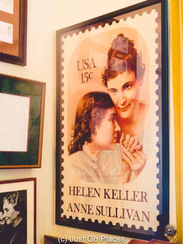 A US postage stamp celebrating the accomplishments of Helen Keller