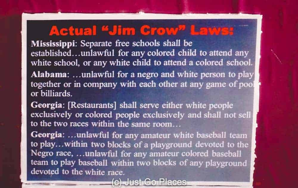 An example of Jim Crow Laws that led to the protests for civil rights in Birmingham Alabama