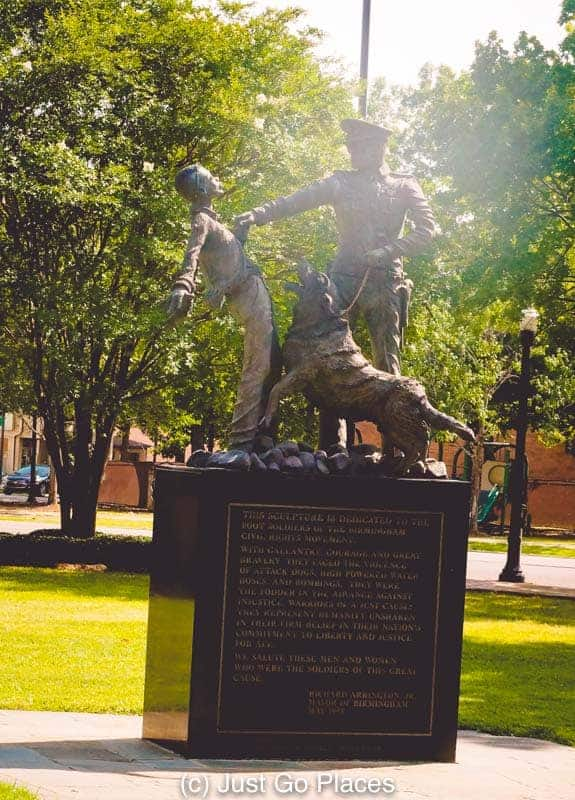 This Kelly Ingram Park statue of a police officer and his attack dog is the most photographed statue at the park.