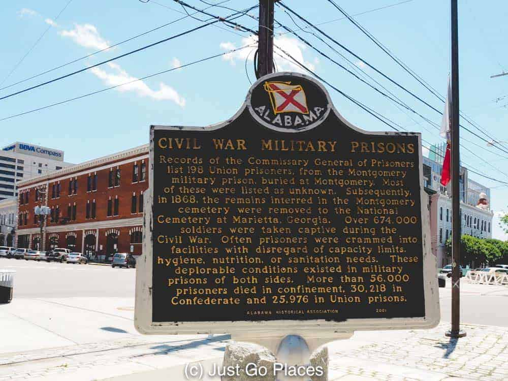A sign showing where the Civil War prison in Montgomery Alabama was located.