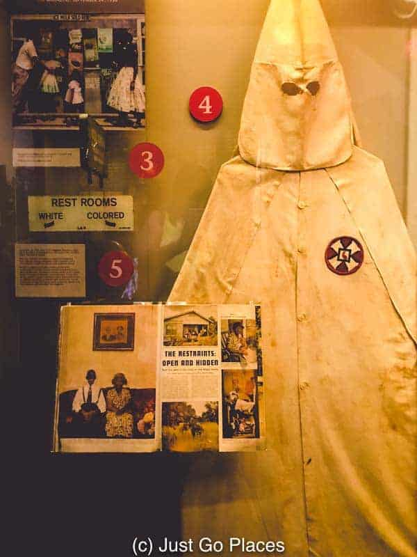 An exhibit of Klu Klux Klan items that terrorised African American communities after the Civil War.