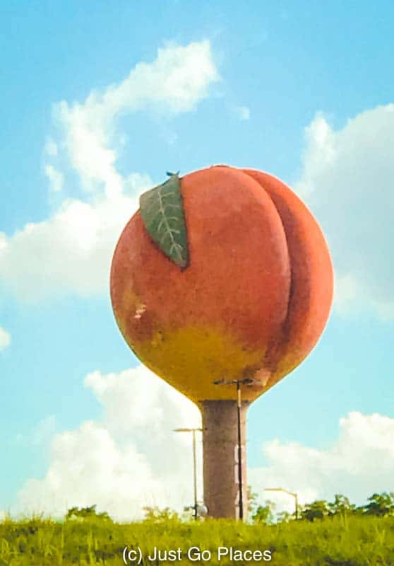 The peach water tower at Clanton in central Alabama.