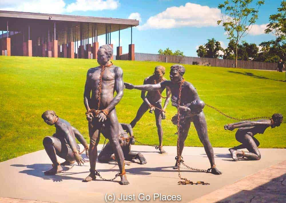 A moving sculpture at the National Memorial for Peace and Justice.