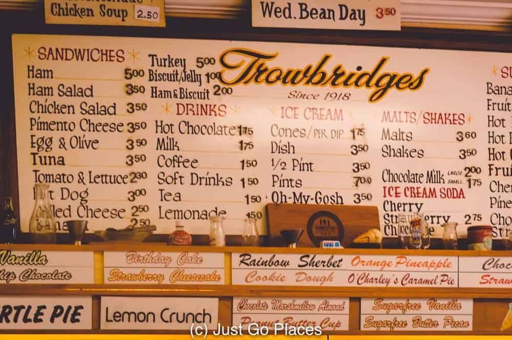 The menu at Trowbridges one of the favourite places to eat in Florence Alabama