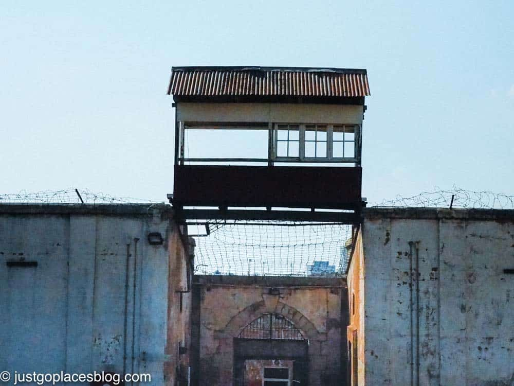 A guard tower at Constitutional Hill jail in Johannesburg South Africa