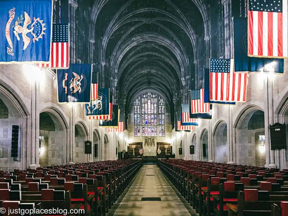 The chapel with flags at West Point Military Academy