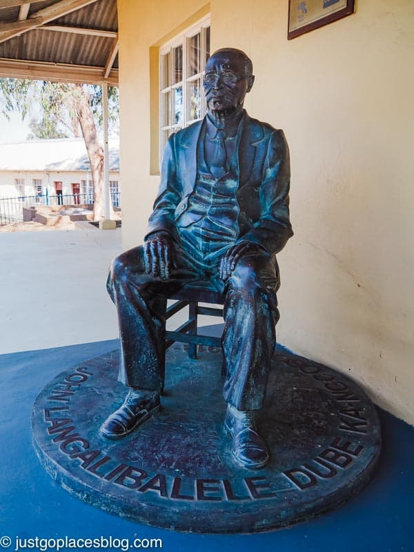 A statue of John Dube in front of his home near the Ohlange Institute.