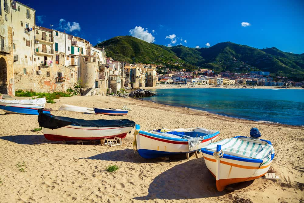 the beach at Cefalu in Sicily