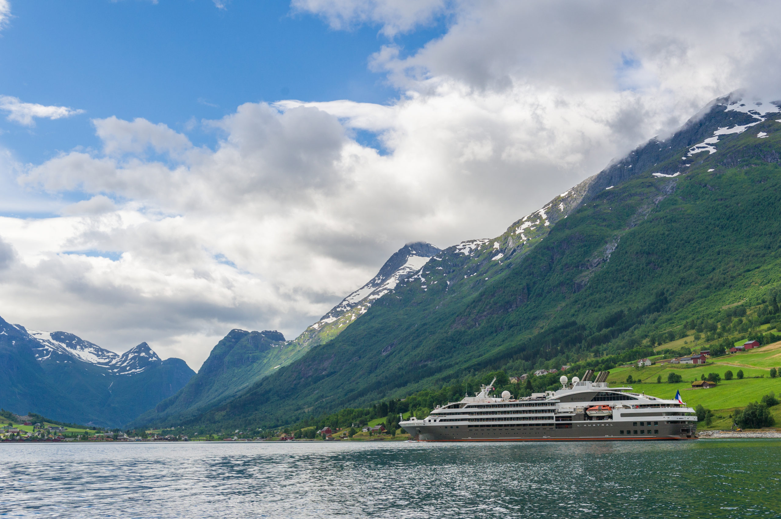 The majestic Norwegian fjords as seen from a Ponant Cruise ship
