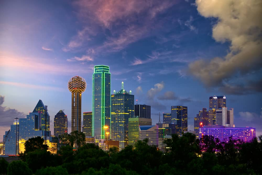 Dallas Texas skyline at Dusk