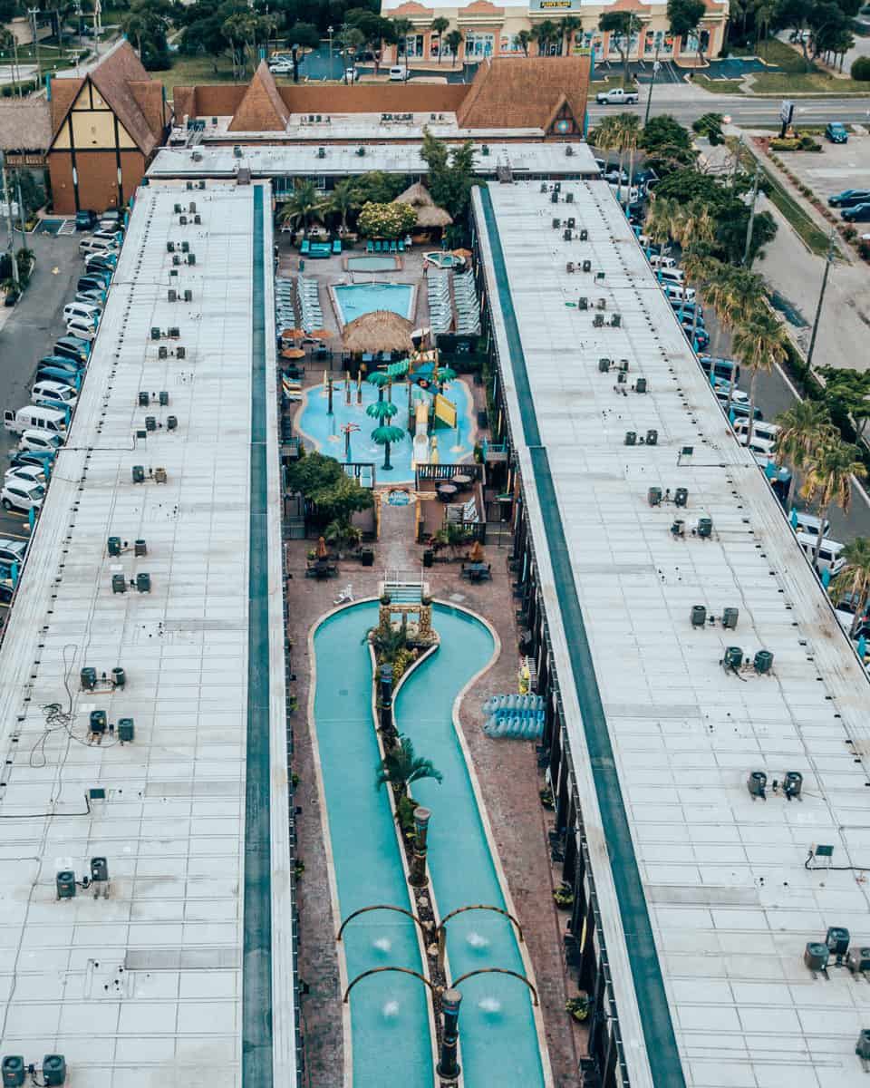aerial view of Westgate Cocoa Beach Resort pools