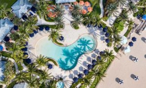 aerial view of the beachside pool at the Breakers