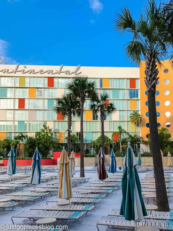 colorful building and sandy poolside area of Cabana Bay