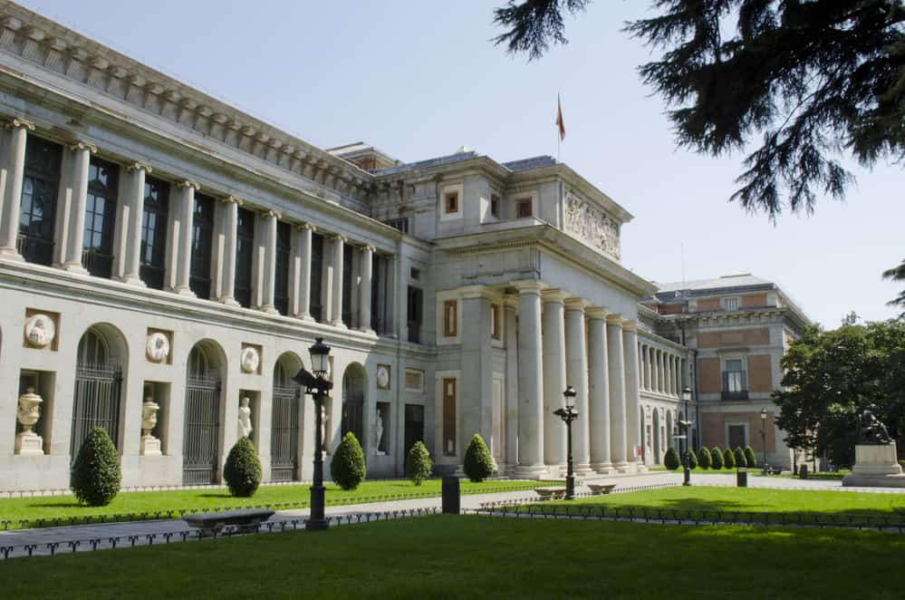 The exterior view of the Prado Museum in Madrid