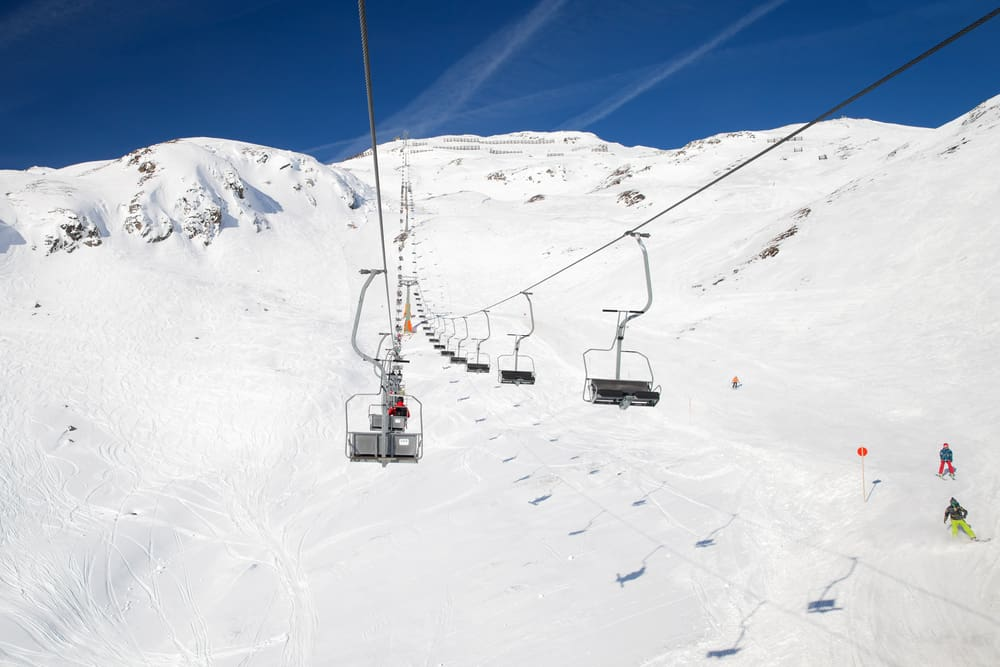 a chair lift at ski resort St Anton in Austria