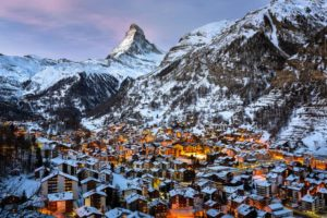 Aerial view of Zermatt and Matterhorn