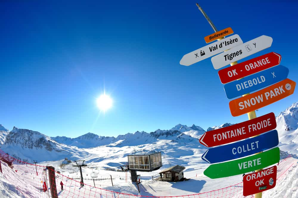 sign board at Val D'Isere