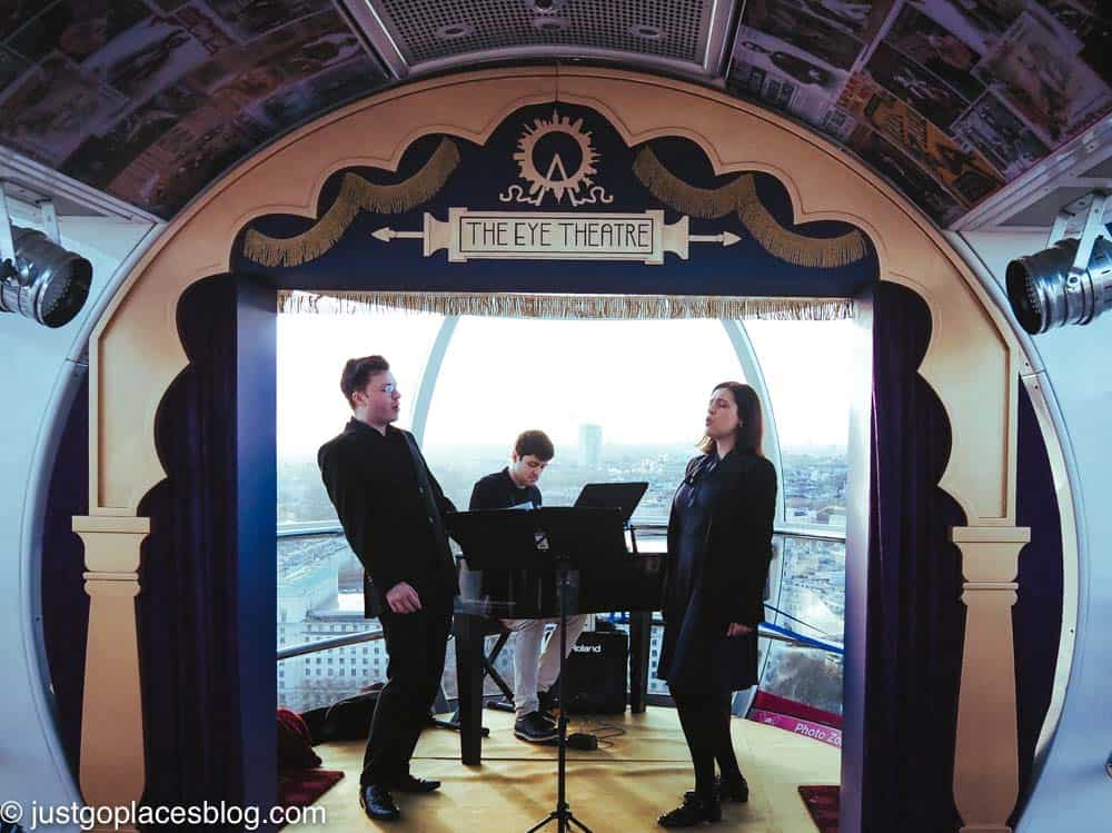 a musical trio onboard the London Eye
