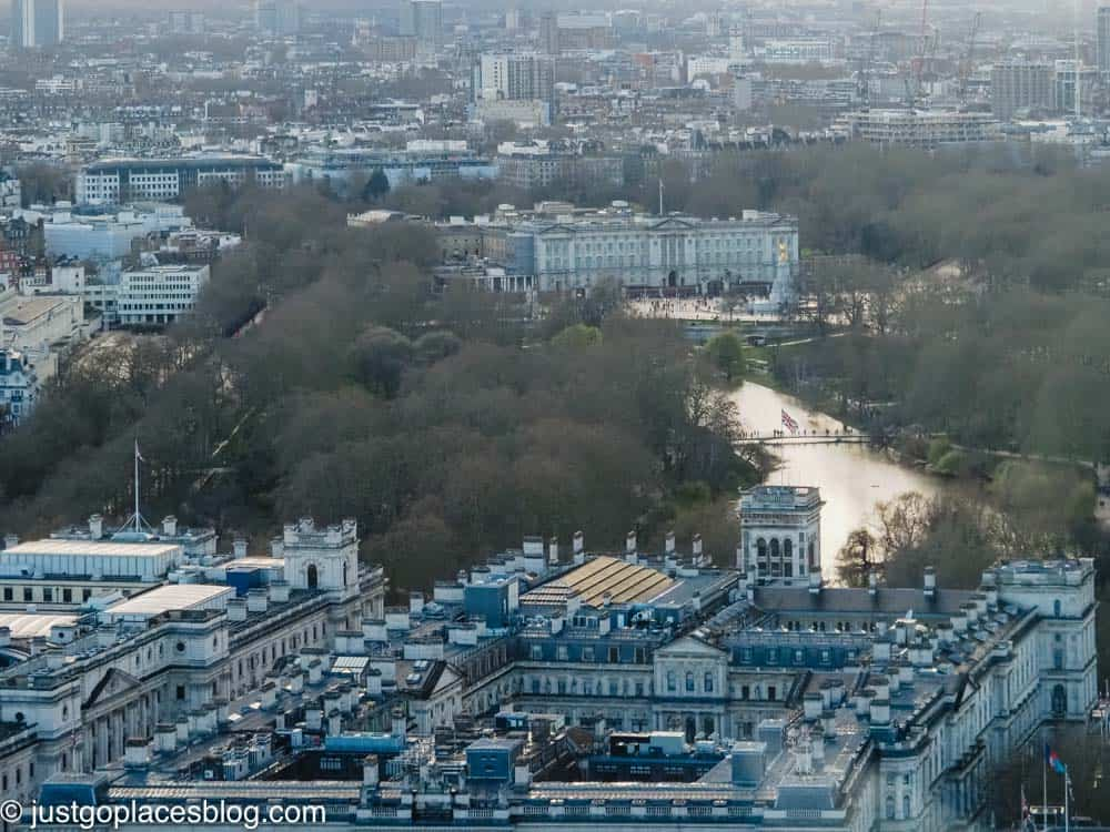 view of Buckingham Palace from London Eye
