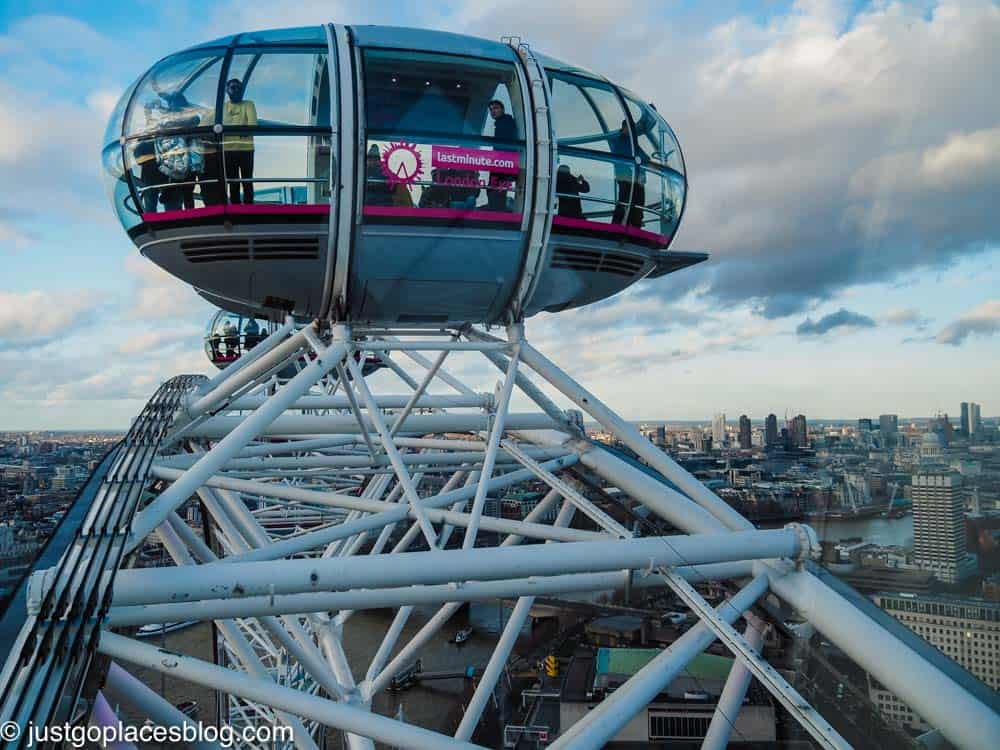 London Eye capsule at the top of the wheel