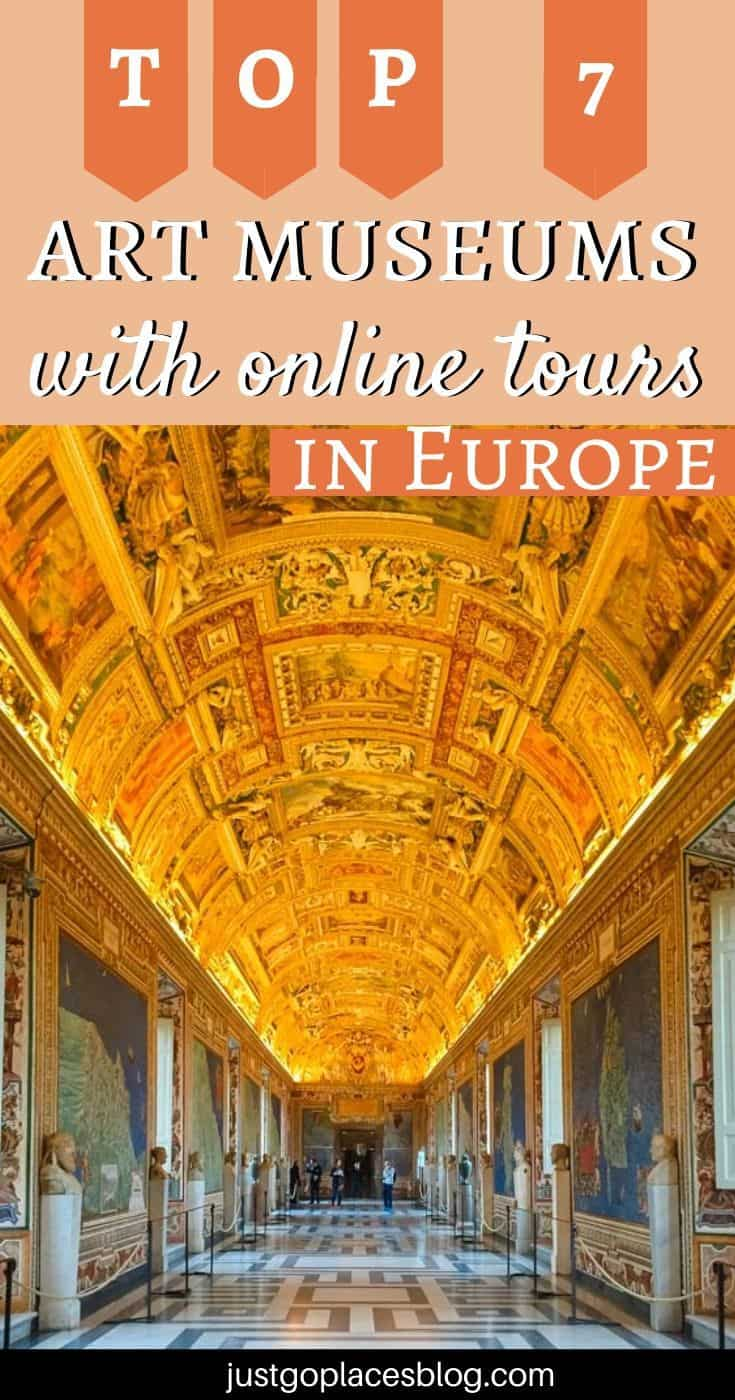 """pinterest image: image of Vatican Museum gallery with caption reading """"Top 7 Art Museums With Online Tours in Europe"""""""
