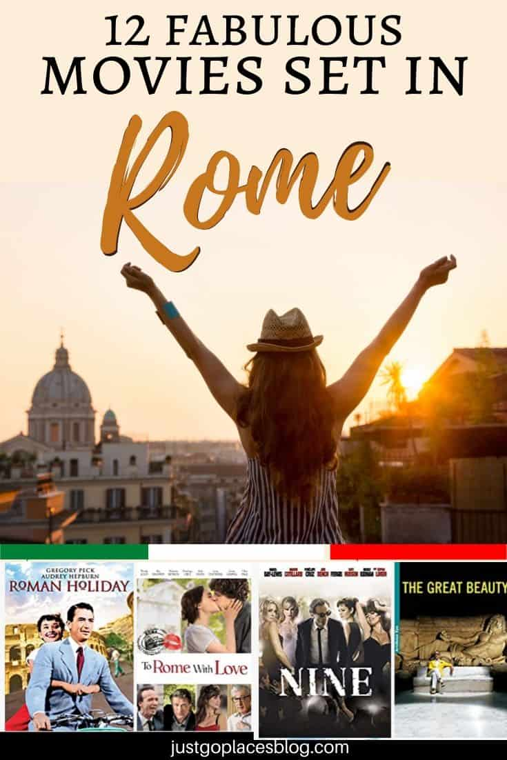 A young girl facing the Roman skyline in the dawn light with 4 movies set in Rome at the bottom, Roman Holiday, To Rome With Love, Nine and The Great Beauty