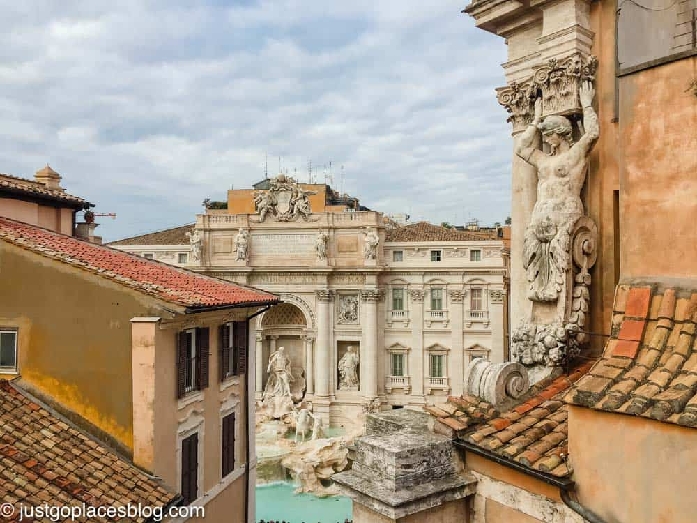 rooftop view of the Trevi Fountain