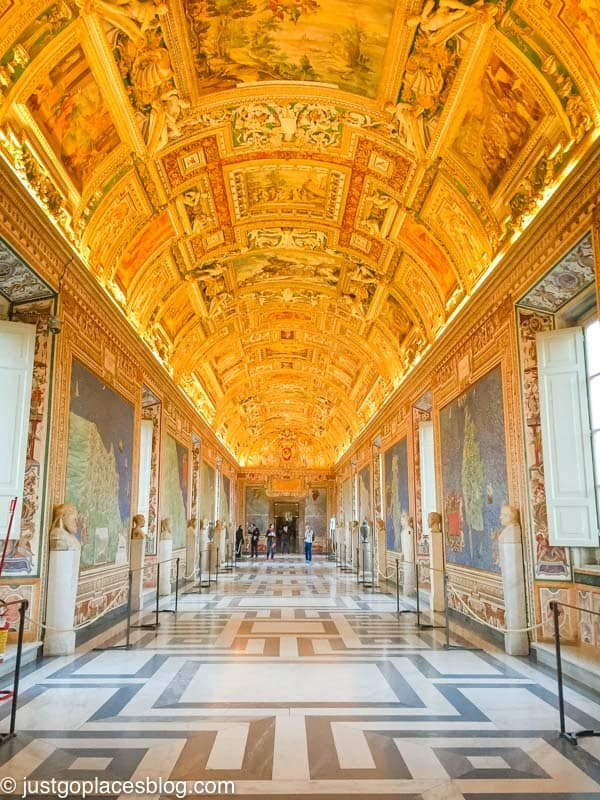 A grand hallway in the Vatican Museum