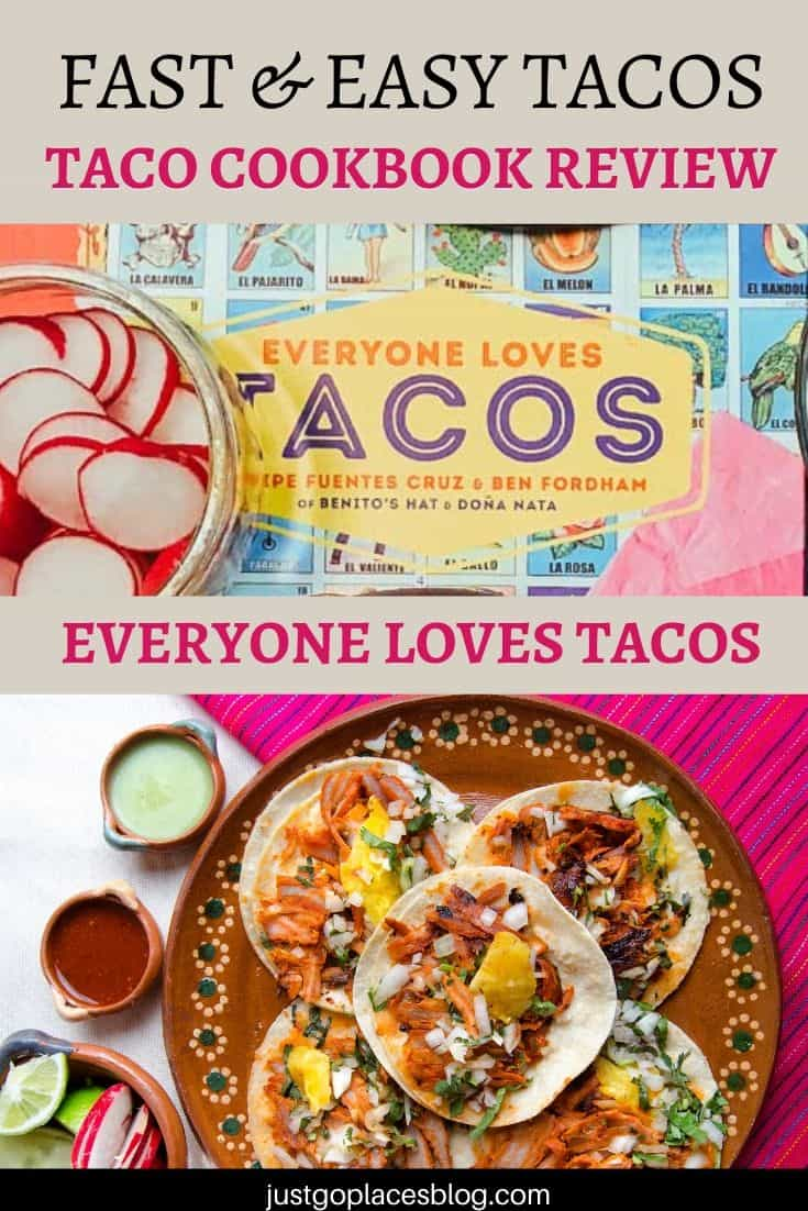 photo of the cookbook Everyone Loves Tacos and a photo of tacos on a plate