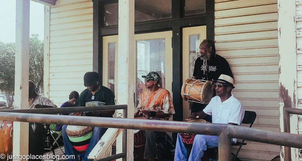 Juneteenth music played on the porch