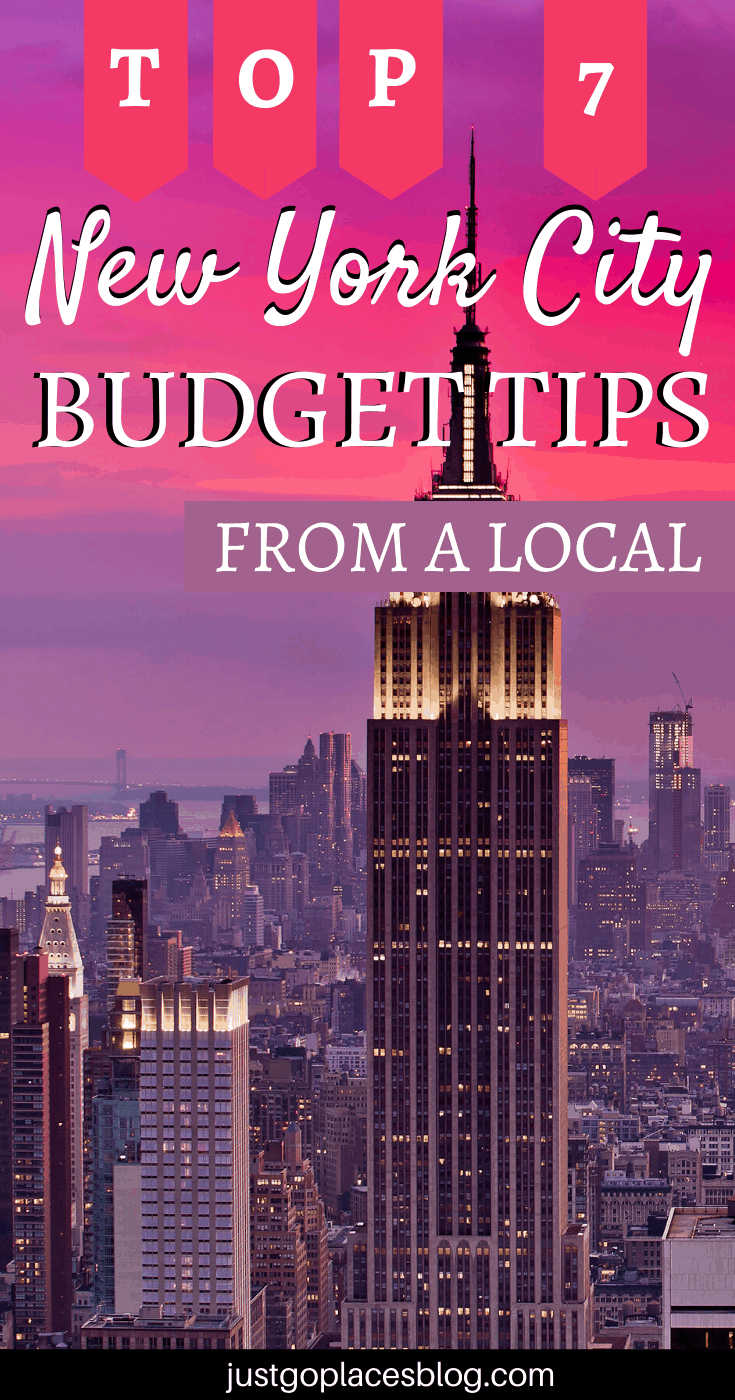 New York City at sunset with a purple and pink sky with the words: Top 7 New York City Budget Tips From A Local
