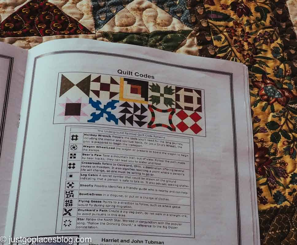 codes shown in quilts for the underground railroad