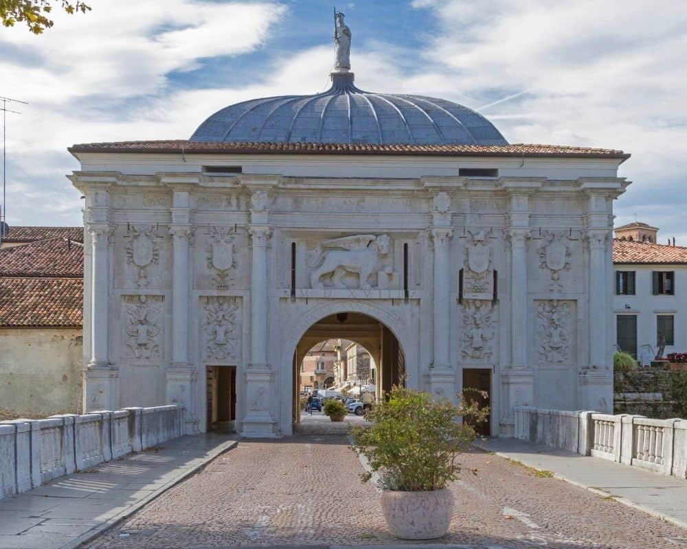 The medieval Porta Santi Quaranta city gate at Treviso