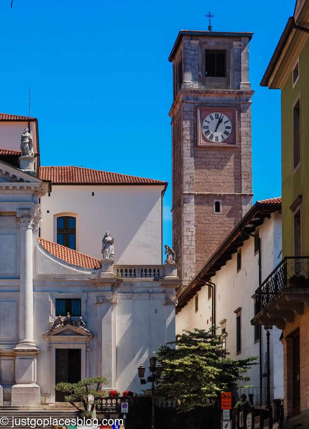 The clock tower next to the Cathedral of San Daniele de Friuli