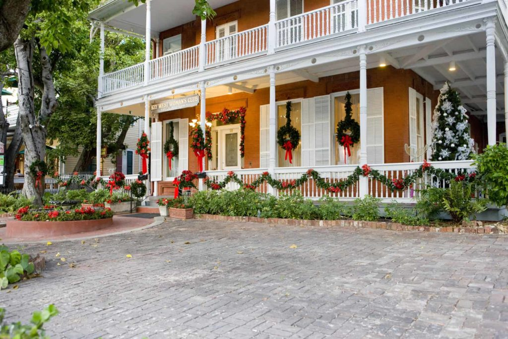 Christmas decor on a house in Key West florida