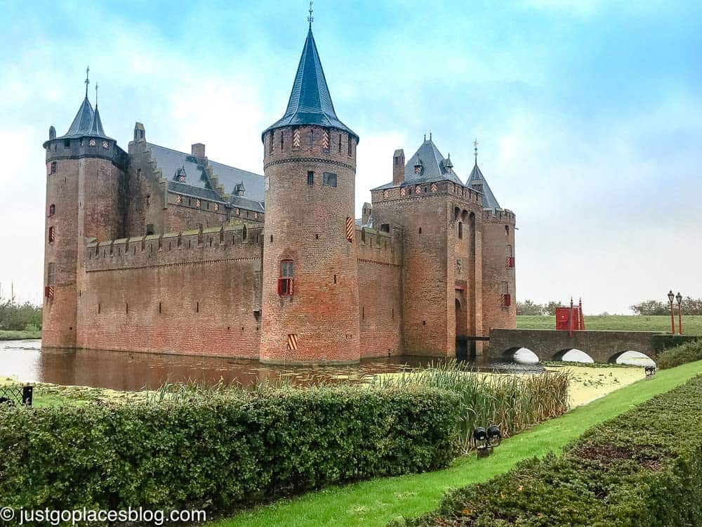 Muiderslot Castle, moat and gardens in Netherlands