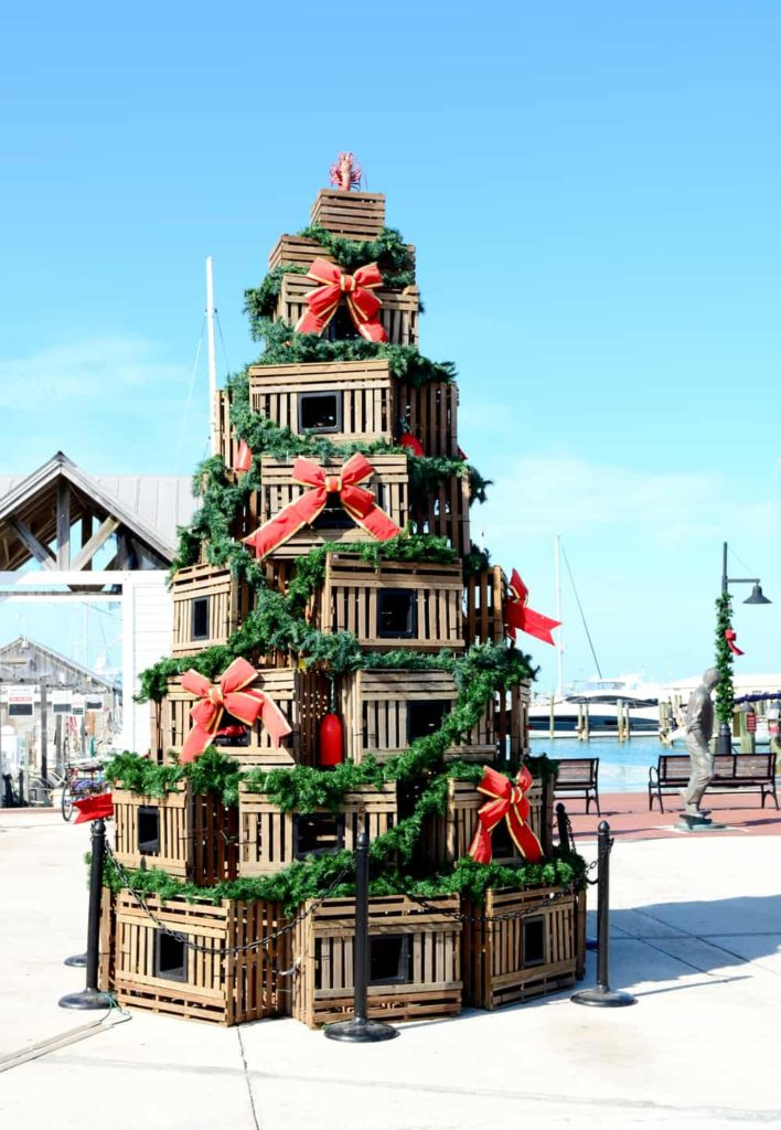 Lobster traps making up a Christmas tree in Key West Florida