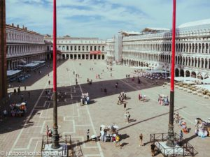 Limited amount of people in St Marks Square in Venice