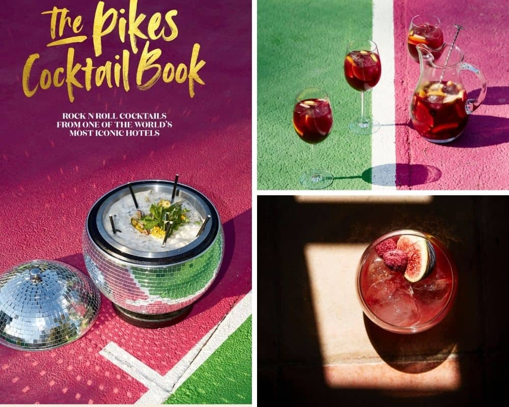 images of Pikes cocktail book, a sangria jug and 2 glasses and the Original Lost Boy cocktail