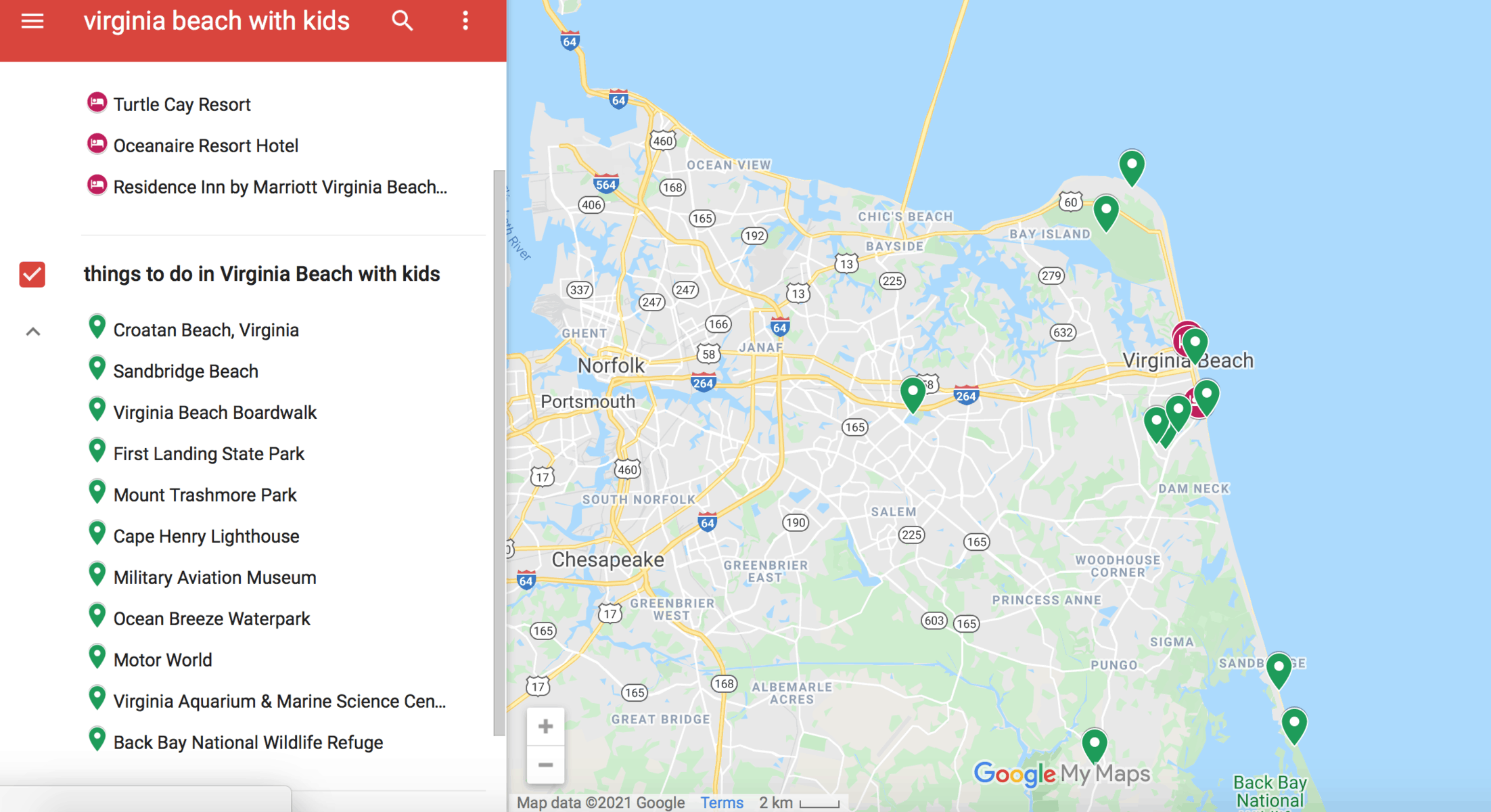Map for Virginia Beach With Kids